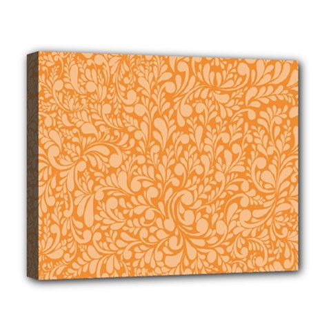 Orange Pattern Deluxe Canvas 20  X 16   by Valentinaart