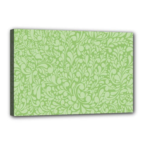 Green Pattern Canvas 18  X 12  by Valentinaart