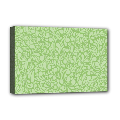 Green Pattern Deluxe Canvas 18  X 12   by Valentinaart