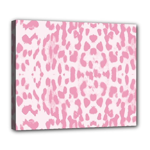 Leopard Pink Pattern Deluxe Canvas 24  X 20   by Valentinaart