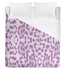 Purple Leopard Pattern Duvet Cover (queen Size) by Valentinaart