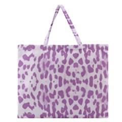 Purple Leopard Pattern Zipper Large Tote Bag by Valentinaart