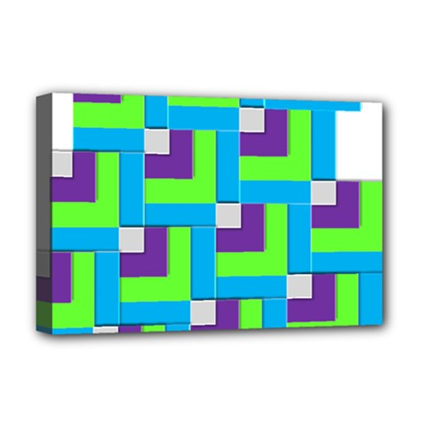 Geometric 3d Mosaic Bold Vibrant Deluxe Canvas 18  X 12   by Amaryn4rt