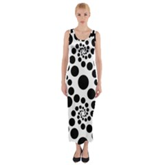 Dot Dots Round Black And White Fitted Maxi Dress by Amaryn4rt