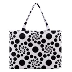 Dot Dots Round Black And White Medium Tote Bag by Amaryn4rt