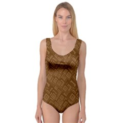 Brown Pattern Rectangle Wallpaper Princess Tank Leotard