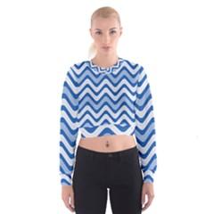 Waves Wavy Lines Pattern Design Women s Cropped Sweatshirt