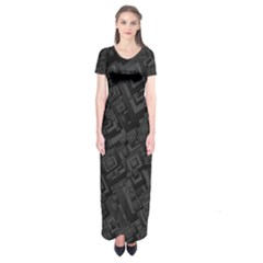 Black Rectangle Wallpaper Grey Short Sleeve Maxi Dress