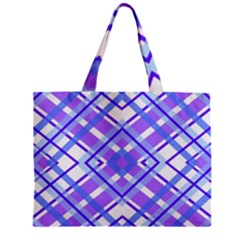 Geometric Plaid Pale Purple Blue Zipper Mini Tote Bag by Amaryn4rt