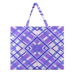 Geometric Plaid Pale Purple Blue Zipper Large Tote Bag by Amaryn4rt