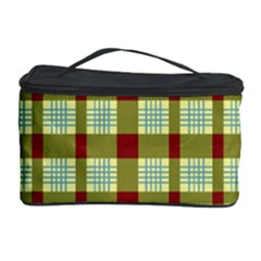Geometric Tartan Pattern Square Cosmetic Storage Case by Amaryn4rt