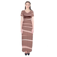 Lines Swinging Texture Background Short Sleeve Maxi Dress