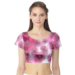 Think Pink Short Sleeve Crop Top (Tight Fit)