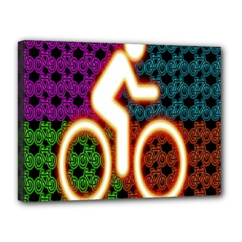 Bike Neon Colors Graphic Bright Bicycle Light Purple Orange Gold Green Blue Canvas 16  X 12  by Alisyart