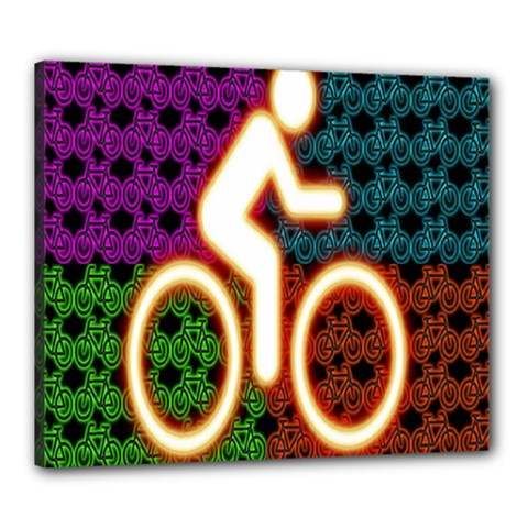Bike Neon Colors Graphic Bright Bicycle Light Purple Orange Gold Green Blue Canvas 24  X 20  by Alisyart
