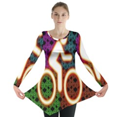 Bike Neon Colors Graphic Bright Bicycle Light Purple Orange Gold Green Blue Long Sleeve Tunic  by Alisyart