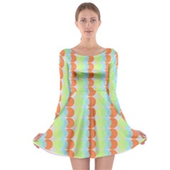 Circles Orange Blue Green Yellow Long Sleeve Skater Dress