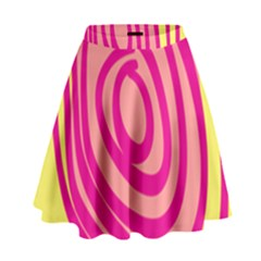 Doodle Shapes Large Line Circle Pink Red Yellow High Waist Skirt by Alisyart