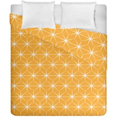 Yellow Stars Light White Orange Duvet Cover Double Side (california King Size) by Alisyart