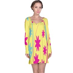 Easter Egg Shapes Large Wave Green Pink Blue Yellow Black Floral Star Long Sleeve Nightdress by Alisyart