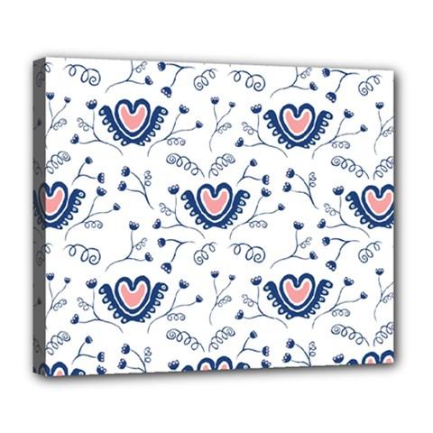 Heart Love Valentine Flower Floral Purple Deluxe Canvas 24  X 20   by Alisyart