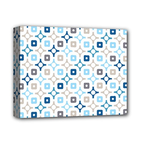 Plaid Line Chevron Wave Blue Grey Circle Deluxe Canvas 14  X 11  by Alisyart