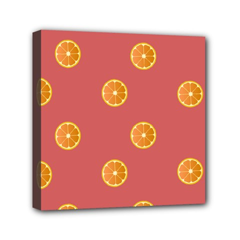 Oranges Lime Fruit Red Circle Mini Canvas 6  X 6  by Alisyart