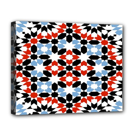 Oriental Star Plaid Triangle Red Black Blue White Deluxe Canvas 20  X 16   by Alisyart