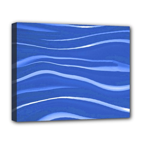 Lines Swinging Texture  Blue Background Deluxe Canvas 20  X 16   by Amaryn4rt