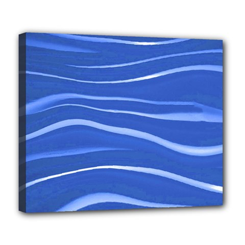 Lines Swinging Texture  Blue Background Deluxe Canvas 24  X 20   by Amaryn4rt