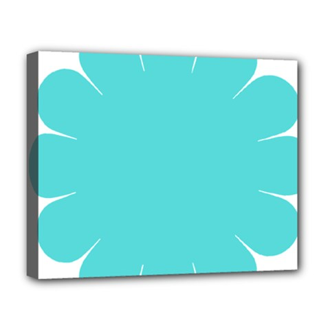 Turquoise Flower Blue Deluxe Canvas 20  X 16   by Alisyart