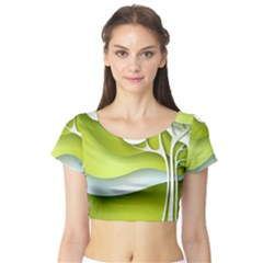 Tree Wood  White Green Short Sleeve Crop Top (Tight Fit)