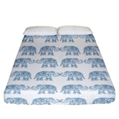 Indian Elephant  Fitted Sheet (queen Size) by Valentinaart