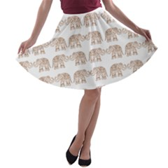 Indian Elephant A Line Skater Skirt by Valentinaart