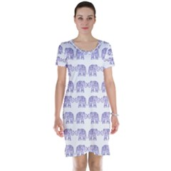 Indian Elephant Pattern Short Sleeve Nightdress by Valentinaart