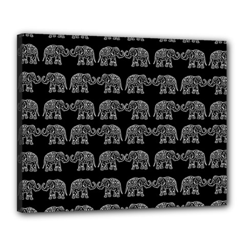Indian Elephant Pattern Canvas 20  X 16  by Valentinaart