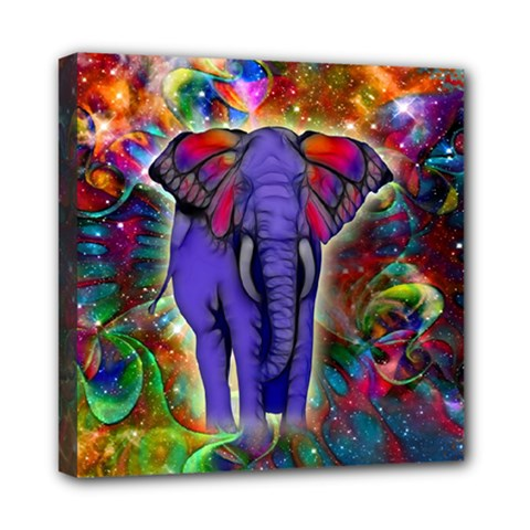 Abstract Elephant With Butterfly Ears Colorful Galaxy Mini Canvas 8  X 8  by EDDArt