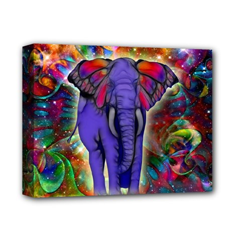 Abstract Elephant With Butterfly Ears Colorful Galaxy Deluxe Canvas 14  X 11  by EDDArt