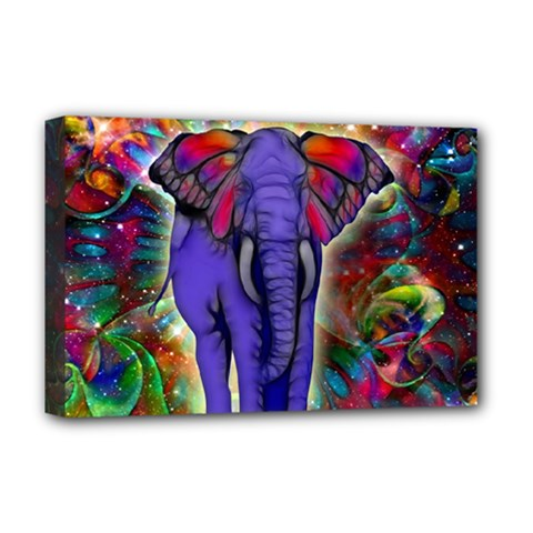 Abstract Elephant With Butterfly Ears Colorful Galaxy Deluxe Canvas 18  X 12   by EDDArt
