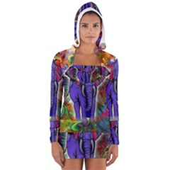 Abstract Elephant With Butterfly Ears Colorful Galaxy Women s Long Sleeve Hooded T Shirt by EDDArt