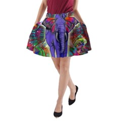Abstract Elephant With Butterfly Ears Colorful Galaxy A Line Pocket Skirt by EDDArt