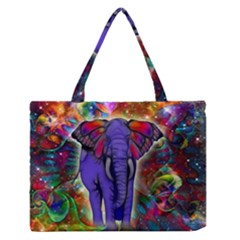 Abstract Elephant With Butterfly Ears Colorful Galaxy Medium Zipper Tote Bag by EDDArt