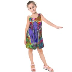 Abstract Elephant With Butterfly Ears Colorful Galaxy Kids  Sleeveless Dress by EDDArt