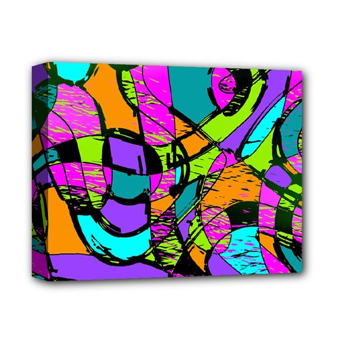 Abstract Art Squiggly Loops Multicolored Deluxe Canvas 14  X 11  by EDDArt