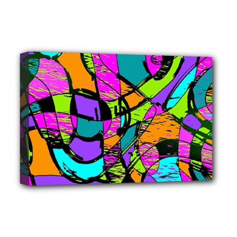 Abstract Art Squiggly Loops Multicolored Deluxe Canvas 18  X 12   by EDDArt