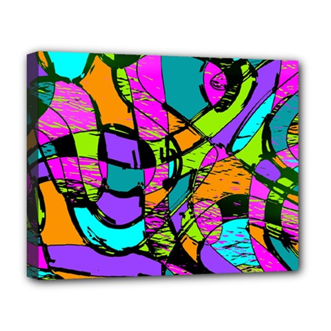 Abstract Art Squiggly Loops Multicolored Deluxe Canvas 20  X 16   by EDDArt