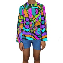 Abstract Art Squiggly Loops Multicolored Kids  Long Sleeve Swimwear by EDDArt