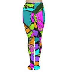 Abstract Art Squiggly Loops Multicolored Women s Tights by EDDArt