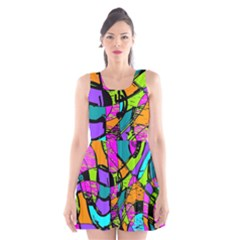 Abstract Art Squiggly Loops Multicolored Scoop Neck Skater Dress by EDDArt