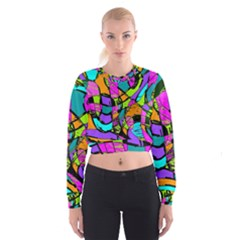 Abstract Art Squiggly Loops Multicolored Women s Cropped Sweatshirt by EDDArt